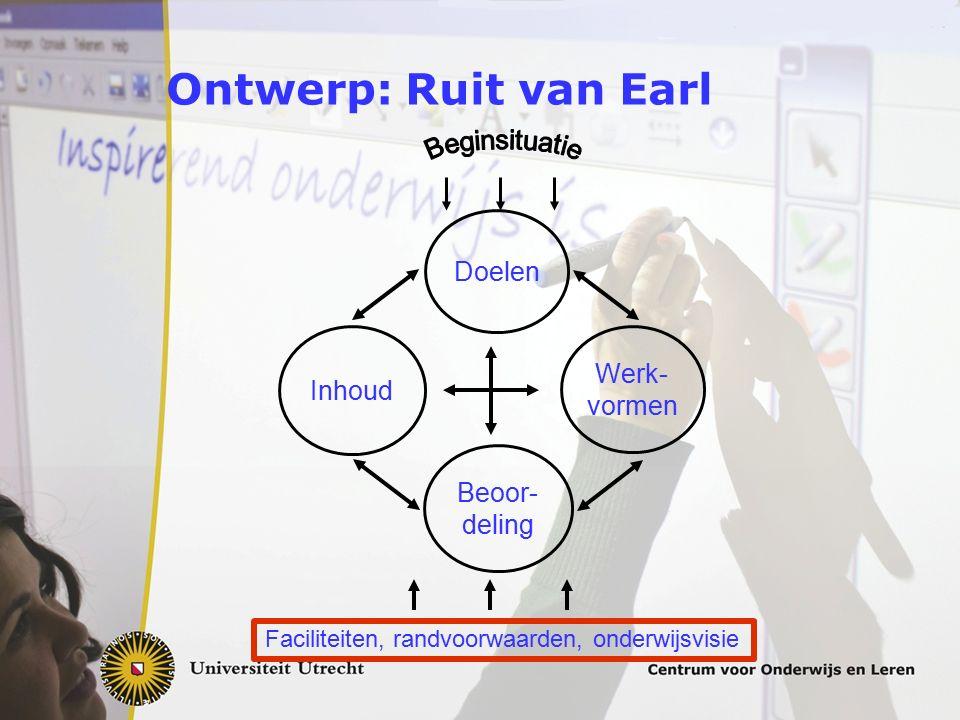 Ontwerp: Ruit van Earl Doelen Beoor- deling Inhoud Werk- vormen Faciliteiten, randvoorwaarden, onderwijsvisie