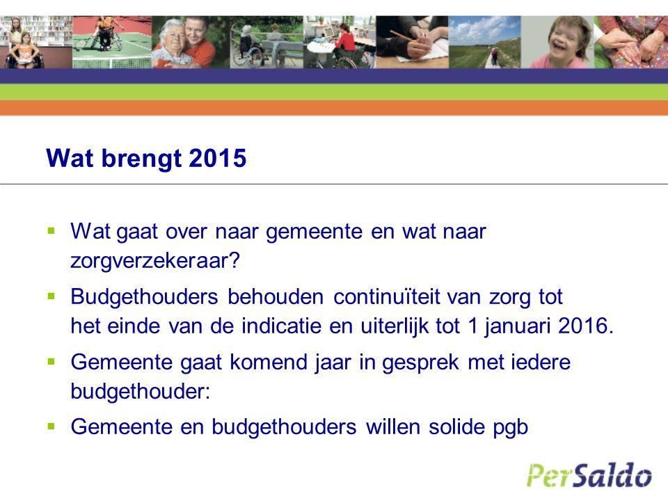 Wat brengt 2015  Wat gaat over naar gemeente en wat naar zorgverzekeraar.