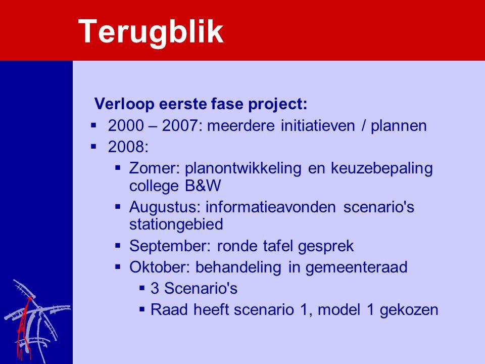 Terugblik Verloop eerste fase project:  2000 – 2007: meerdere initiatieven / plannen  2008:  Zomer: planontwikkeling en keuzebepaling college B&W 