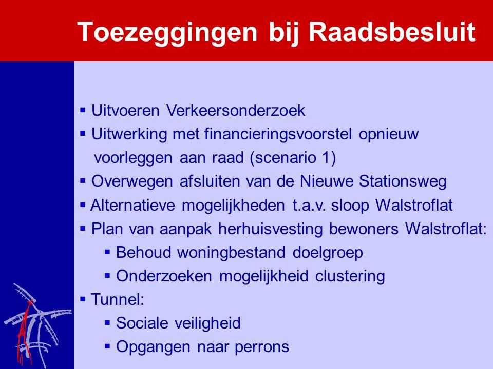 Toezeggingen bij Raadsbesluit  Uitvoeren Verkeersonderzoek  Uitwerking met financieringsvoorstel opnieuw voorleggen aan raad (scenario 1)  Overwegen afsluiten van de Nieuwe Stationsweg  Alternatieve mogelijkheden t.a.v.