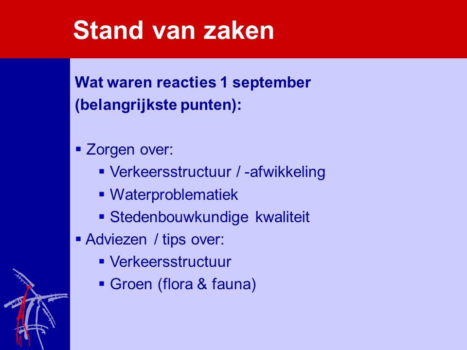 Stand van zaken Wat waren reacties 1 september (belangrijkste punten):  Zorgen over:  Verkeersstructuur / -afwikkeling  Waterproblematiek  Stedenb