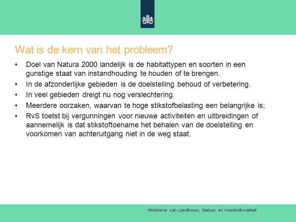 Ministerie van Landbouw, Natuur en Voedselkwaliteit Wat is de kern van het probleem.