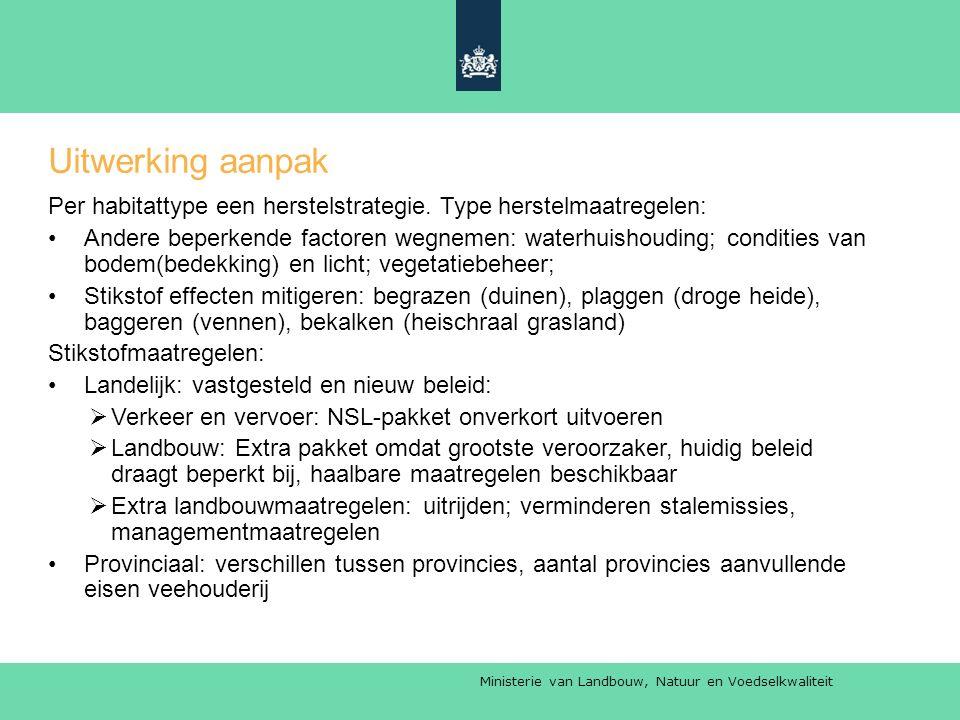 Ministerie van Landbouw, Natuur en Voedselkwaliteit Uitwerking aanpak Per habitattype een herstelstrategie.