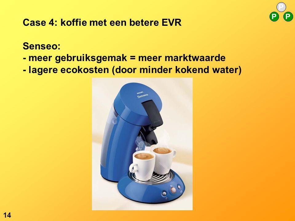 P PP 14 Case 4: koffie met een betere EVR Senseo: - meer gebruiksgemak = meer marktwaarde - lagere ecokosten (door minder kokend water)