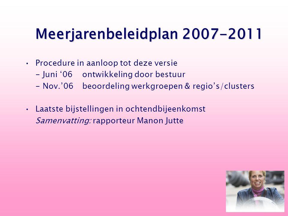 Procedure in aanloop tot deze versie - Juni '06ontwikkeling door bestuur - Nov.'06beoordeling werkgroepen & regio's/clusters Laatste bijstellingen in