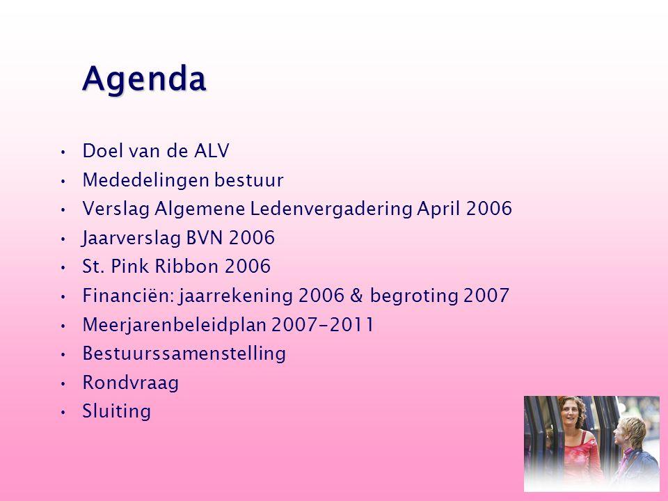 Doel van de ALV Mededelingen bestuur Verslag Algemene Ledenvergadering April 2006 Jaarverslag BVN 2006 St. Pink Ribbon 2006 Financiën: jaarrekening 20