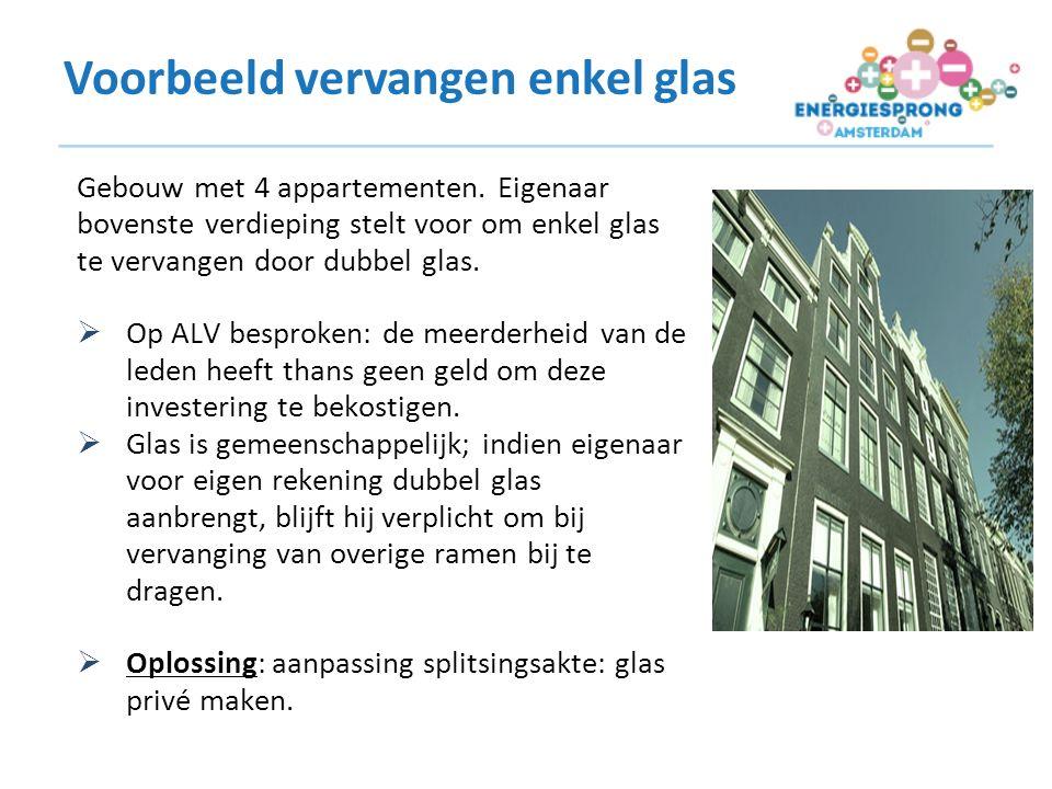 Voorbeeld vervangen enkel glas Gebouw met 4 appartementen.