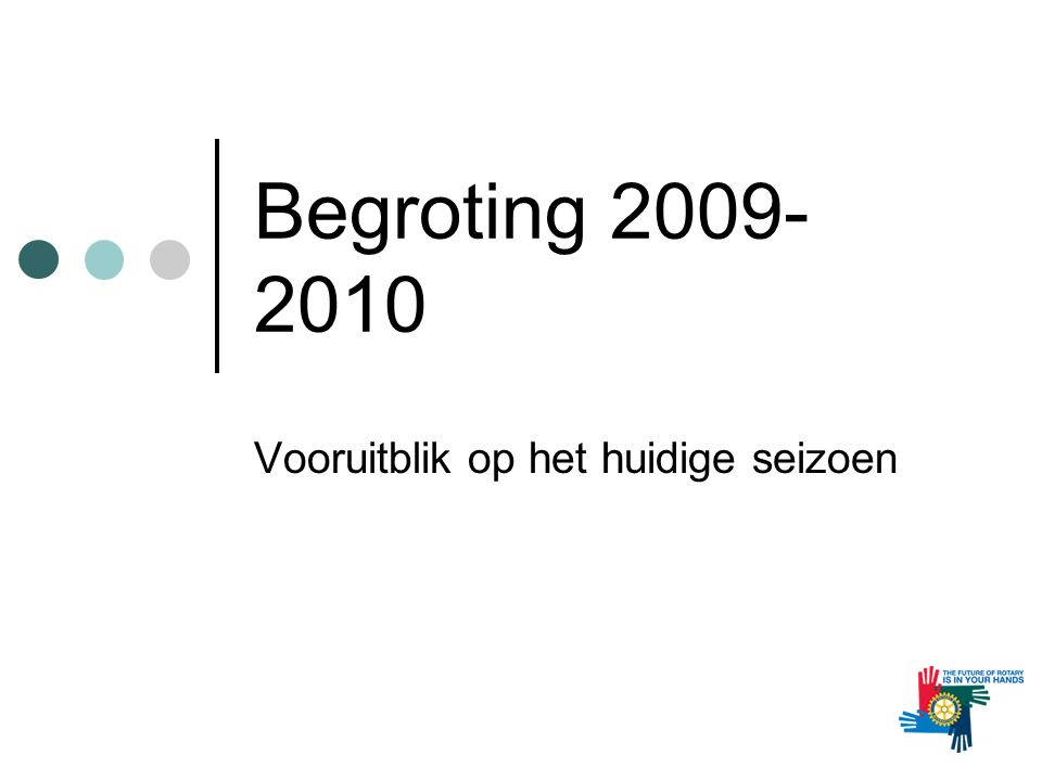 Begroting 2009- 2010 Vooruitblik op het huidige seizoen