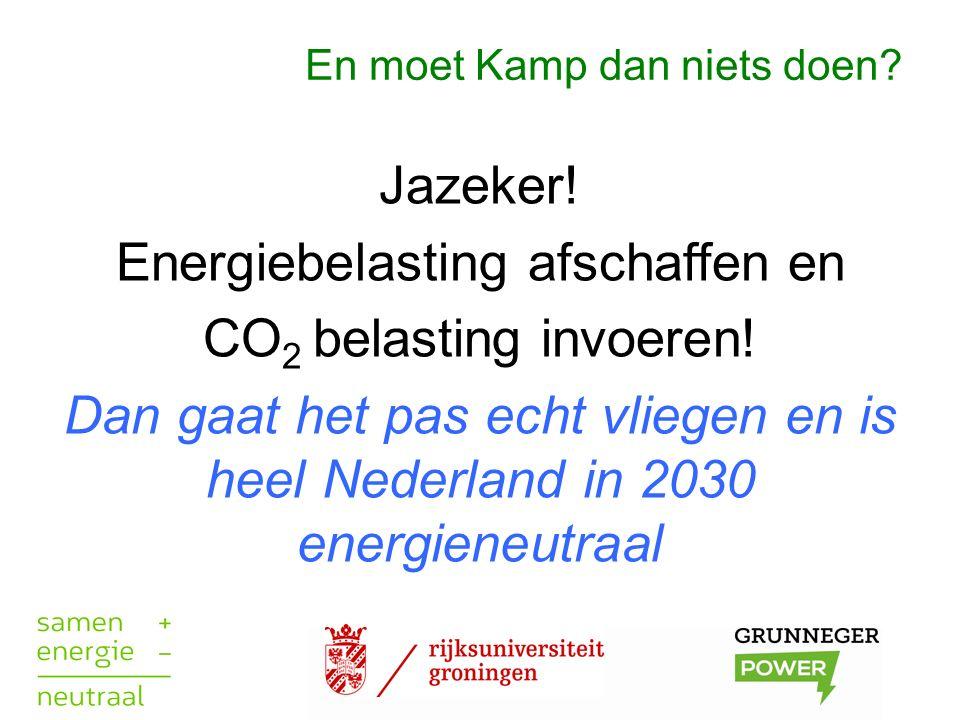 En moet Kamp dan niets doen? Jazeker! Energiebelasting afschaffen en CO 2 belasting invoeren! Dan gaat het pas echt vliegen en is heel Nederland in 20