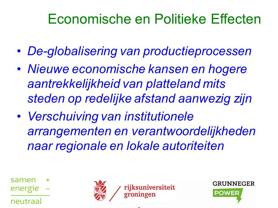 Economische en Politieke Effecten De-globalisering van productieprocessen Nieuwe economische kansen en hogere aantrekkelijkheid van platteland mits steden op redelijke afstand aanwezig zijn Verschuiving van institutionele arrangementen en verantwoordelijkheden naar regionale en lokale autoriteiten.