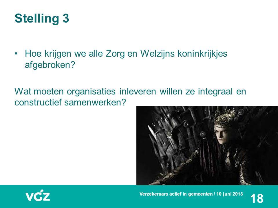 Stelling 3 Hoe krijgen we alle Zorg en Welzijns koninkrijkjes afgebroken? Wat moeten organisaties inleveren willen ze integraal en constructief samenw
