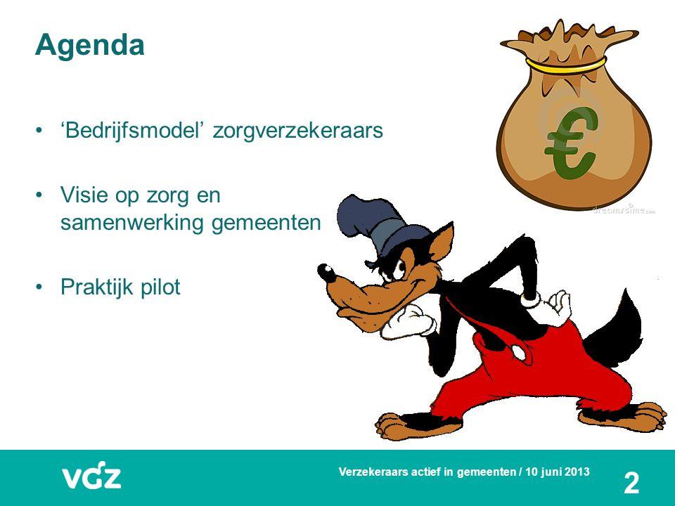 Agenda 'Bedrijfsmodel' zorgverzekeraars Visie op zorg en samenwerking gemeenten Praktijk pilot Verzekeraars actief in gemeenten / 10 juni 2013 2