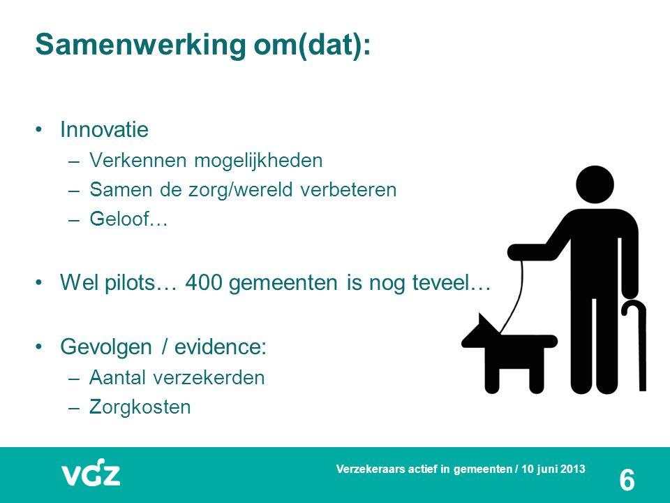Tot slot Gezamenlijke begroting/innovatiebudget Gemeente / coöperatie VGZ (zorgkantoor en verzekeraar) 'Gewoon doen wat nodig is' (= motto Gemeente Nijmegen): los van 'potjes' Proeftuin.