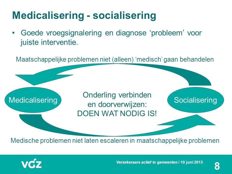 8 Medicalisering - socialisering Goede vroegsignalering en diagnose 'probleem' voor juiste interventie. MedicaliseringSocialisering Medische problemen