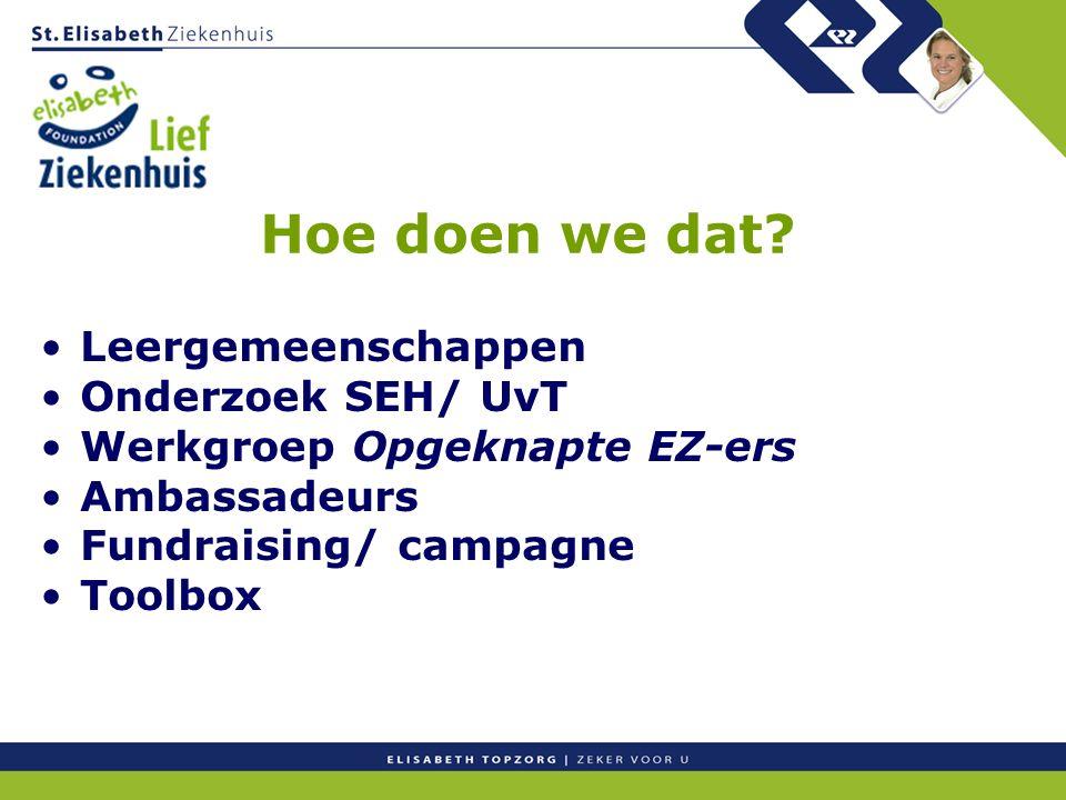 Hoe doen we dat? Leergemeenschappen Onderzoek SEH/ UvT Werkgroep Opgeknapte EZ-ers Ambassadeurs Fundraising/ campagne Toolbox
