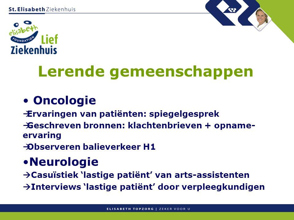 Lerende gemeenschappen Oncologie  Ervaringen van patiënten: spiegelgesprek  Geschreven bronnen: klachtenbrieven + opname- ervaring  Observeren bali