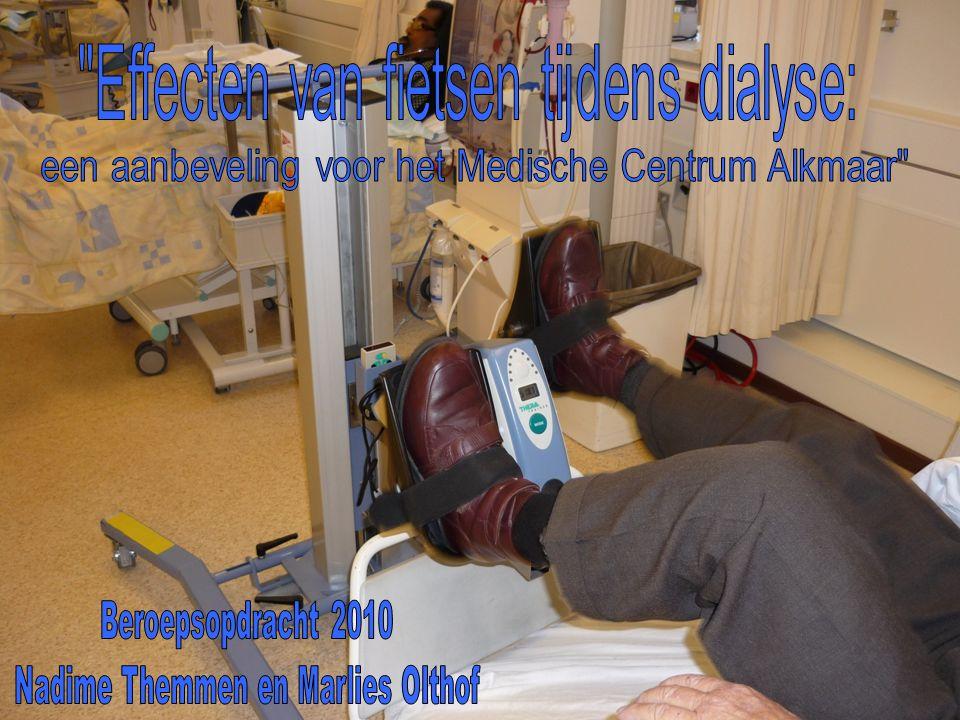  Duur onderzoek  Interventies  Tijdens dialyse of op niet dialyse dagen  Tijd per sessie  Frequentie per week  Intensiteit  Supervisie  Meetinstrumenten: - Fietstest, 6MWT, Spierkrachttesten, Rand-36, Vragenlijst m.b.t.