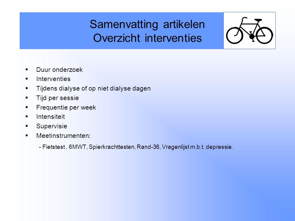  Duur onderzoek  Interventies  Tijdens dialyse of op niet dialyse dagen  Tijd per sessie  Frequentie per week  Intensiteit  Supervisie  Meetin