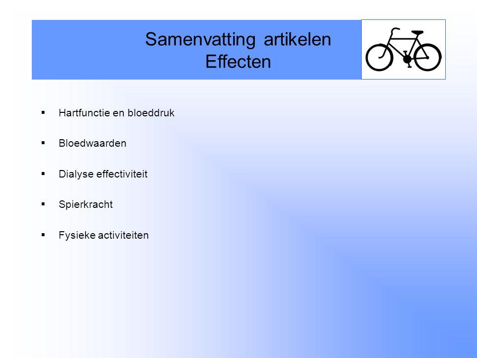  Hartfunctie en bloeddruk  Bloedwaarden  Dialyse effectiviteit  Spierkracht  Fysieke activiteiten Samenvatting artikelen Effecten