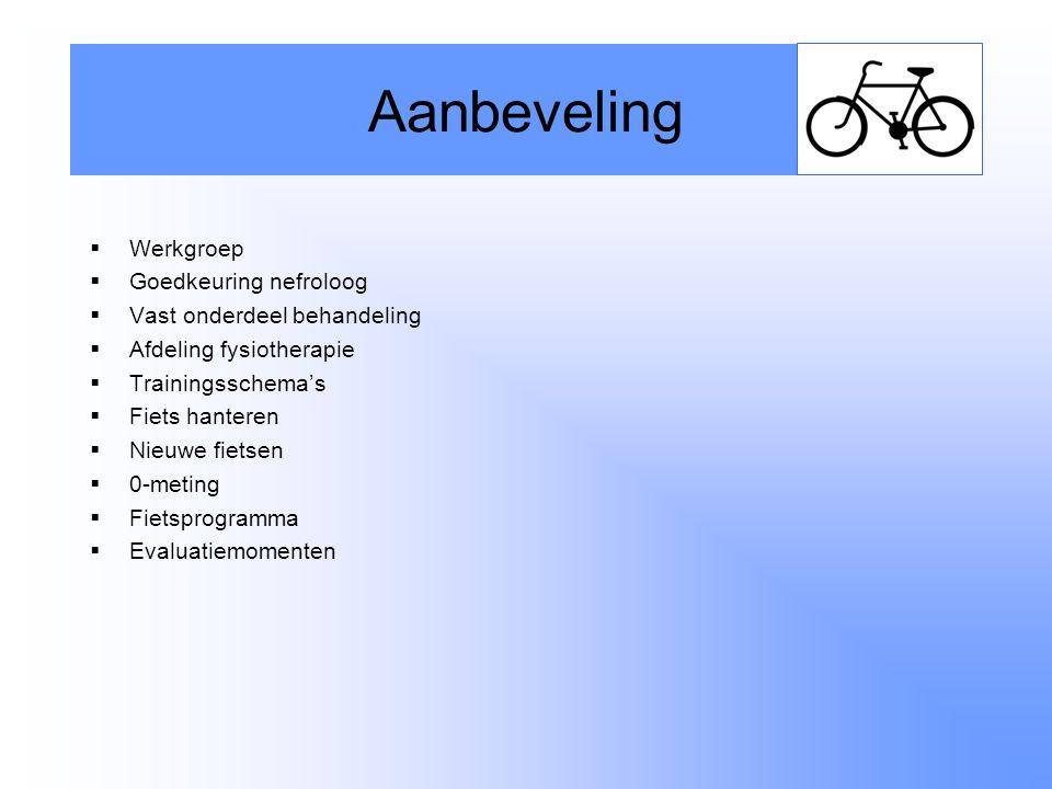  Werkgroep  Goedkeuring nefroloog  Vast onderdeel behandeling  Afdeling fysiotherapie  Trainingsschema's  Fiets hanteren  Nieuwe fietsen  0-meting  Fietsprogramma  Evaluatiemomenten Aanbeveling