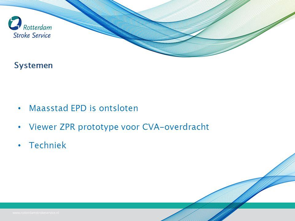 Systemen Maasstad EPD is ontsloten Viewer ZPR prototype voor CVA-overdracht Techniek