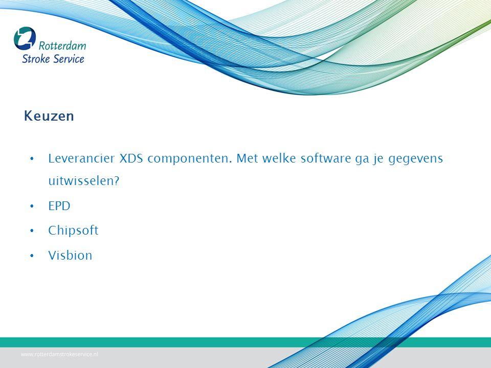 Keuzen Leverancier XDS componenten.Met welke software ga je gegevens uitwisselen.