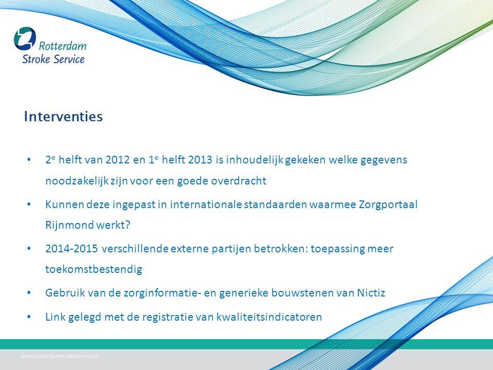 Interventies 2 e helft van 2012 en 1 e helft 2013 is inhoudelijk gekeken welke gegevens noodzakelijk zijn voor een goede overdracht Kunnen deze ingepast in internationale standaarden waarmee Zorgportaal Rijnmond werkt.
