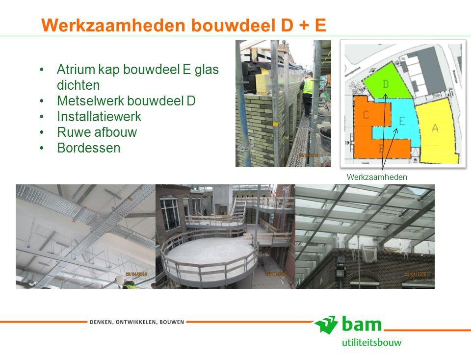 Werkzaamheden bouwdeel D + E 17 Atrium kap bouwdeel E glas dichten Metselwerk bouwdeel D Installatiewerk Ruwe afbouw Bordessen Werkzaamheden