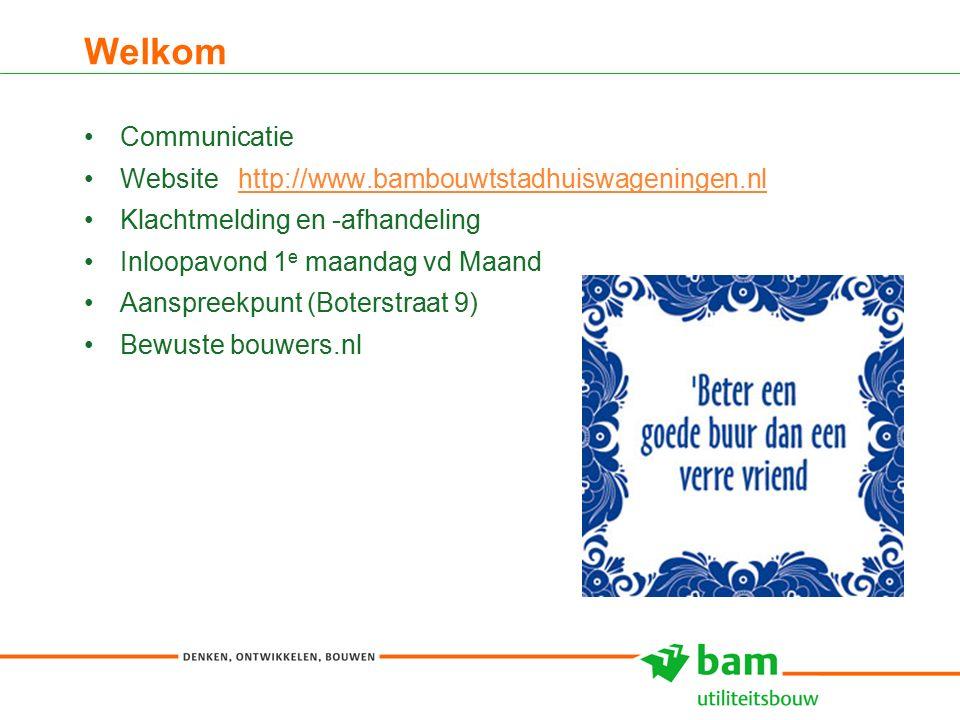 Welkom 3 Communicatie Website http://www.bambouwtstadhuiswageningen.nlhttp://www.bambouwtstadhuiswageningen.nl Klachtmelding en -afhandeling Inloopavond 1 e maandag vd Maand Aanspreekpunt (Boterstraat 9) Bewuste bouwers.nl
