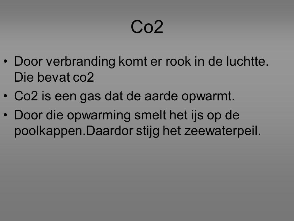 Co2 Door verbranding komt er rook in de luchtte. Die bevat co2 Co2 is een gas dat de aarde opwarmt.