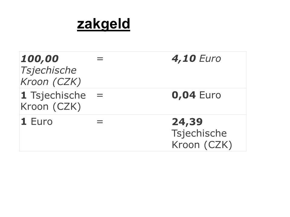 100,00 Tsjechische Kroon (CZK) =4,10 Euro 1 Tsjechische Kroon (CZK) =0,04 Euro 1 Euro=24,39 Tsjechische Kroon (CZK) zakgeld