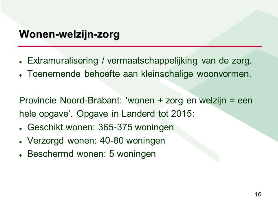 16 Wonen-welzijn-zorg Extramuralisering / vermaatschappelijking van de zorg.