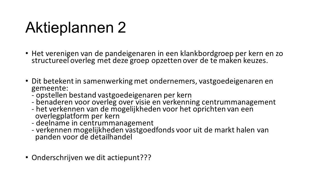 Aktieplannen 2 Het verenigen van de pandeigenaren in een klankbordgroep per kern en zo structureel overleg met deze groep opzetten over de te maken keuzes.