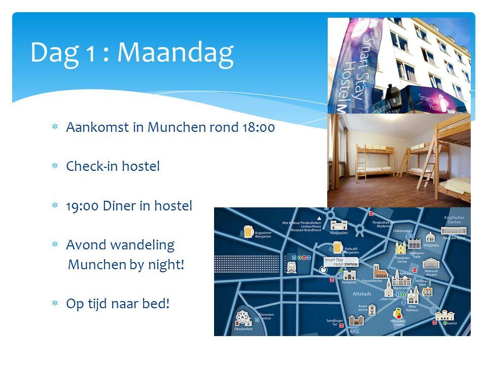  Aankomst in Munchen rond 18:00  Check-in hostel  19:00 Diner in hostel  Avond wandeling Munchen by night.