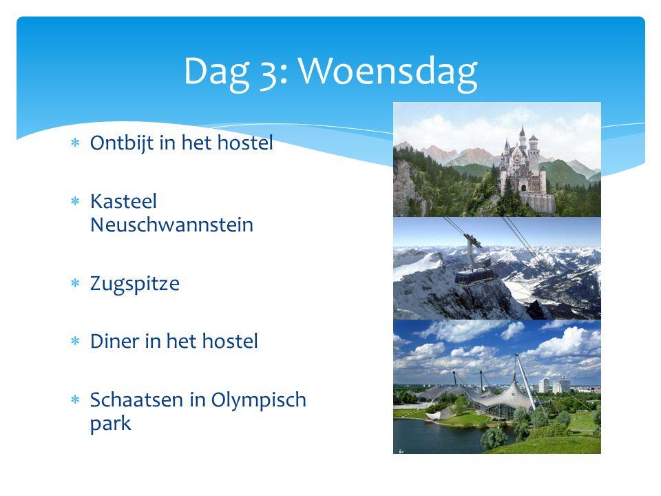  Ontbijt in het hostel  Kasteel Neuschwannstein  Zugspitze  Diner in het hostel  Schaatsen in Olympisch park Dag 3: Woensdag