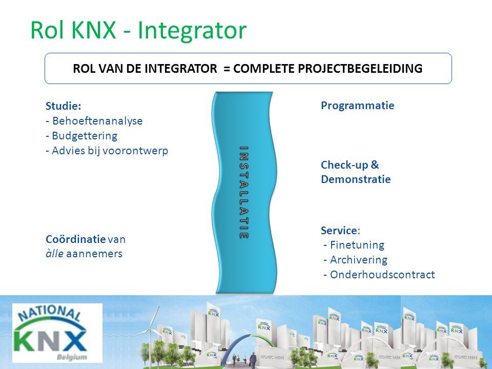 Rol KNX - Integrator ROL VAN DE INTEGRATOR = COMPLETE PROJECTBEGELEIDING Studie: - Behoeftenanalyse - Budgettering - Advies bij voorontwerp Coördinati