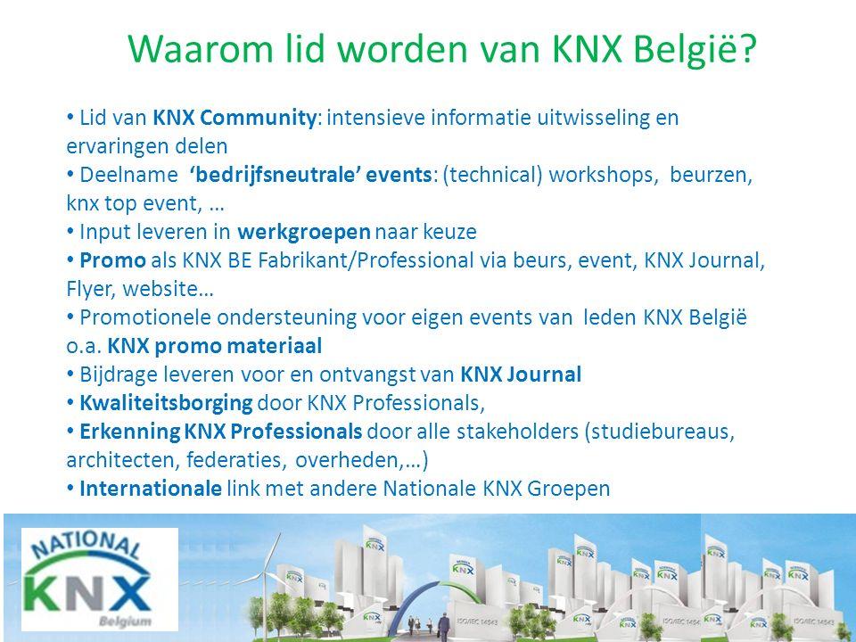 Waarom lid worden van KNX België? Lid van KNX Community: intensieve informatie uitwisseling en ervaringen delen Deelname 'bedrijfsneutrale' events: (t