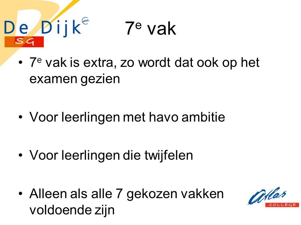 7 e vak 7 e vak is extra, zo wordt dat ook op het examen gezien Voor leerlingen met havo ambitie Voor leerlingen die twijfelen Alleen als alle 7 gekoz
