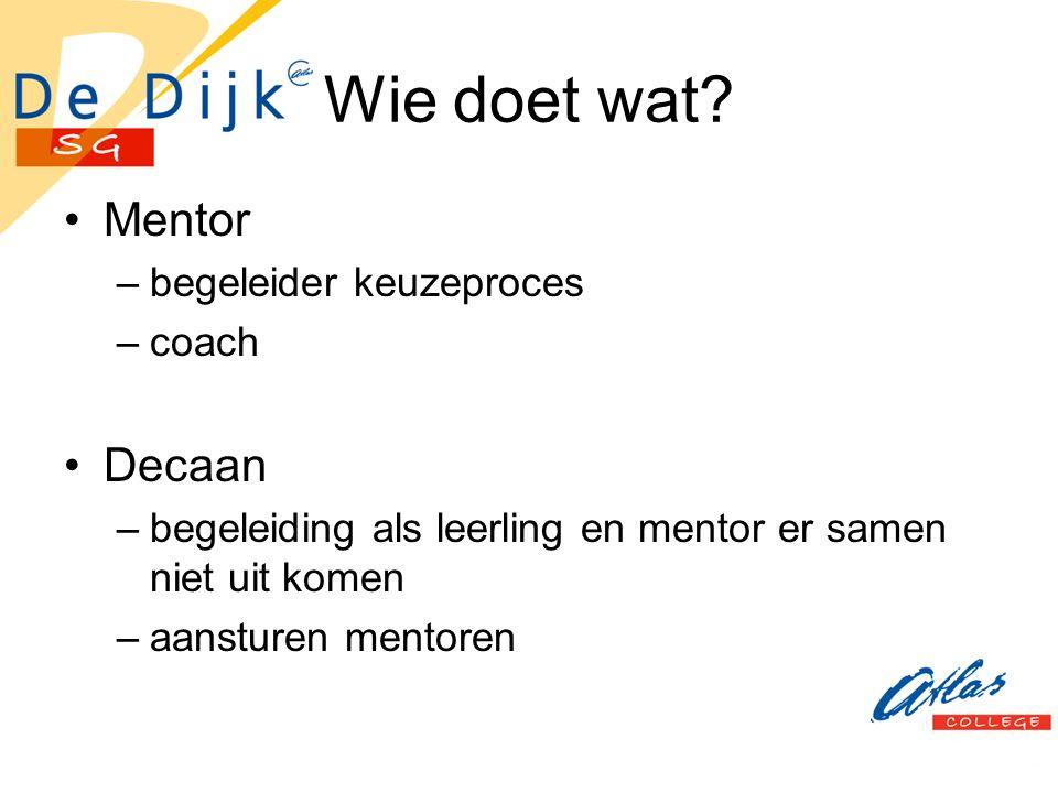 Wie doet wat? Mentor –begeleider keuzeproces –coach Decaan –begeleiding als leerling en mentor er samen niet uit komen –aansturen mentoren