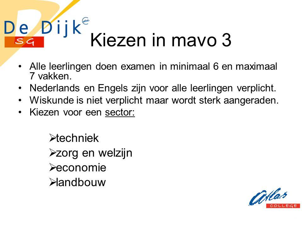 Kiezen in mavo 3 Alle leerlingen doen examen in minimaal 6 en maximaal 7 vakken. Nederlands en Engels zijn voor alle leerlingen verplicht. Wiskunde is