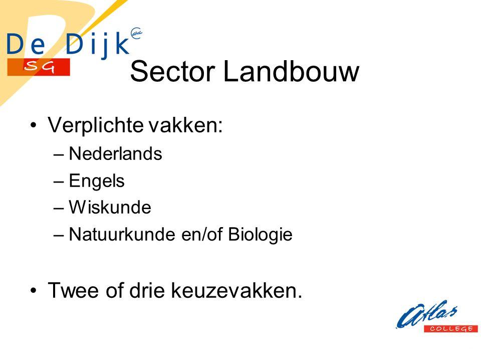 Sector Landbouw Verplichte vakken: –Nederlands –Engels –Wiskunde –Natuurkunde en/of Biologie Twee of drie keuzevakken.
