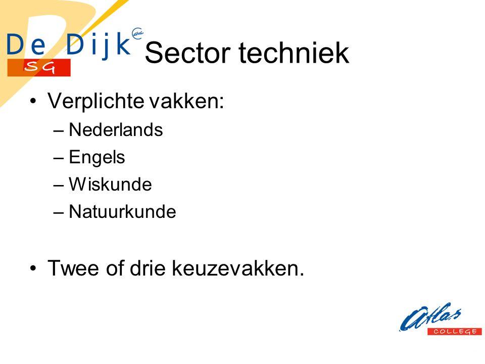 Sector techniek Verplichte vakken: –Nederlands –Engels –Wiskunde –Natuurkunde Twee of drie keuzevakken.