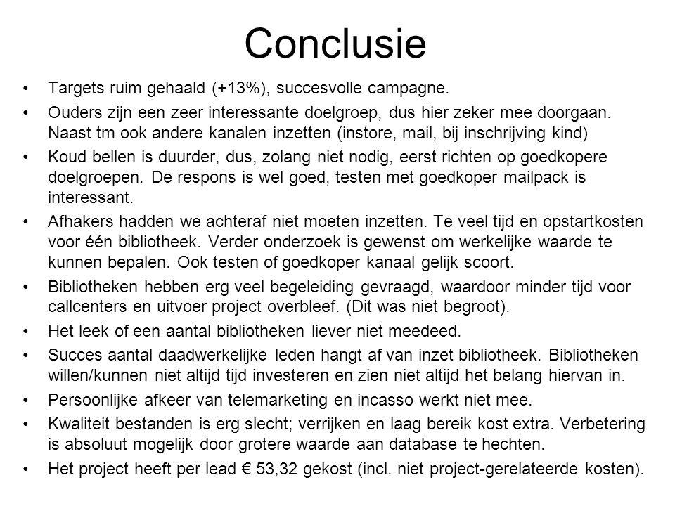 Conclusie Targets ruim gehaald (+13%), succesvolle campagne. Ouders zijn een zeer interessante doelgroep, dus hier zeker mee doorgaan. Naast tm ook an