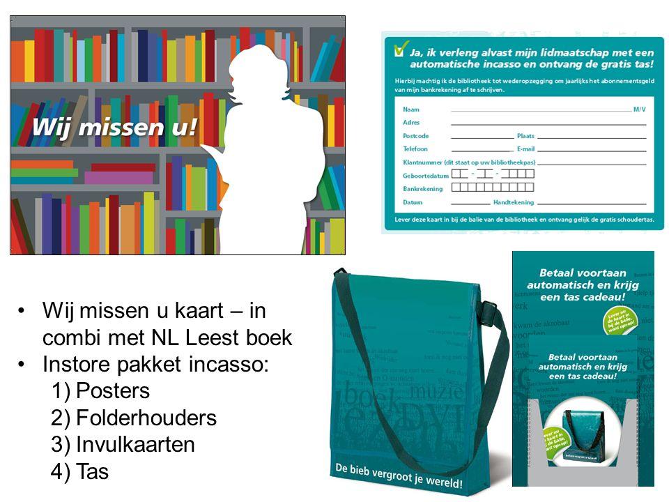 Wij missen u kaart – in combi met NL Leest boek Instore pakket incasso: 1)Posters 2)Folderhouders 3)Invulkaarten 4)Tas