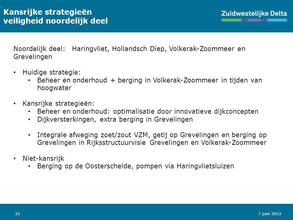 15 Kansrijke strategieën veiligheid noordelijk deel Noordelijk deel: Haringvliet, Hollandsch Diep, Volkerak-Zoommeer en Grevelingen Huidige strategie: Beheer en onderhoud + berging in Volkerak-Zoommeer in tijden van hoogwater Kansrijke strategieën: Beheer en onderhoud: optimalisatie door innovatieve dijkconcepten Dijkversterkingen, extra berging in Grevelingen Integrale afweging zoet/zout VZM, getij op Grevelingen en berging op Grevelingen in Rijksstructuurvisie Grevelingen en Volkerak-Zoommeer Niet-kansrijk Berging op de Oosterschelde, pompen via Haringvlietsluizen 7 juni 2013