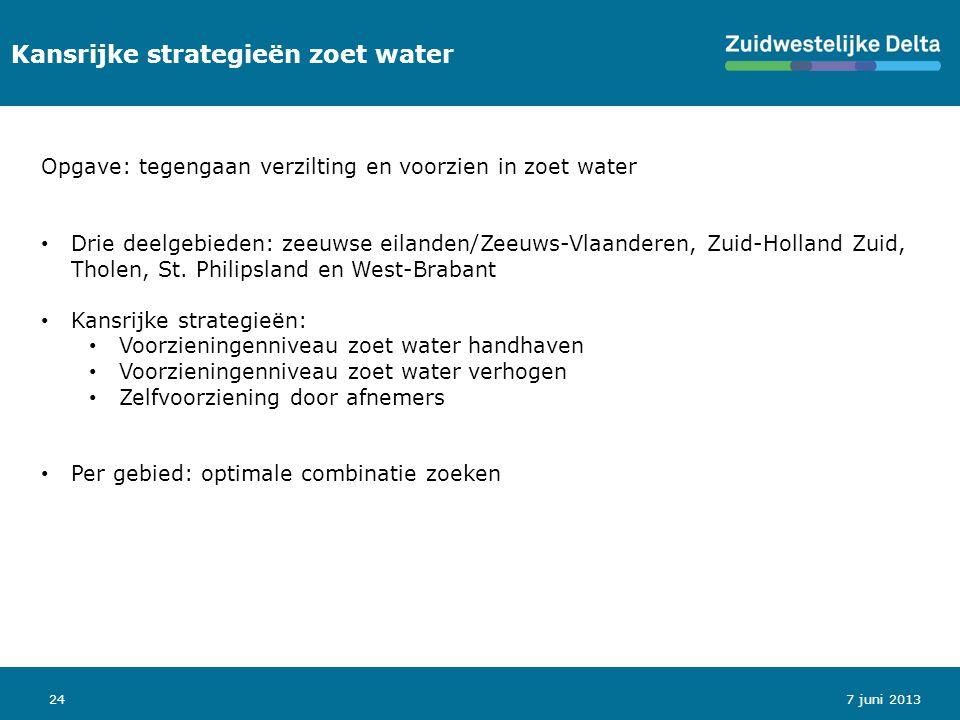 24 Kansrijke strategieën zoet water 7 juni 2013 Opgave: tegengaan verzilting en voorzien in zoet water Drie deelgebieden: zeeuwse eilanden/Zeeuws-Vlaanderen, Zuid-Holland Zuid, Tholen, St.