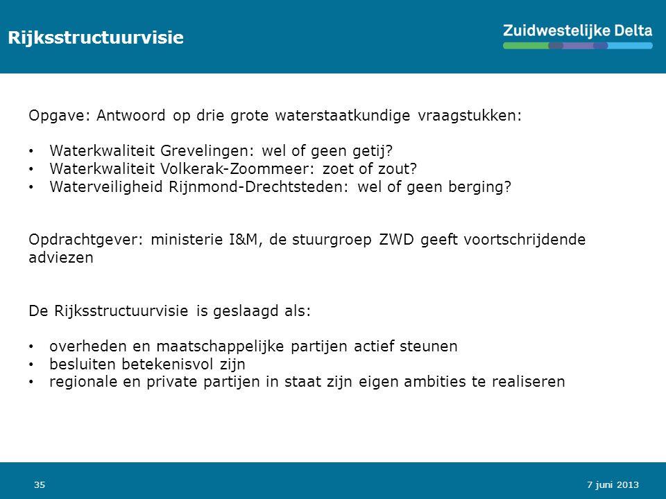 35 Rijksstructuurvisie 7 juni 2013 Opgave: Antwoord op drie grote waterstaatkundige vraagstukken: Waterkwaliteit Grevelingen: wel of geen getij.