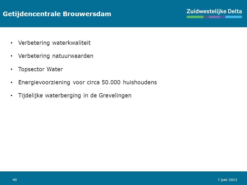 40 Getijdencentrale Brouwersdam 7 juni 2013 Verbetering waterkwaliteit Verbetering natuurwaarden Topsector Water Energievoorziening voor circa 50.000 huishoudens Tijdelijke waterberging in de Grevelingen