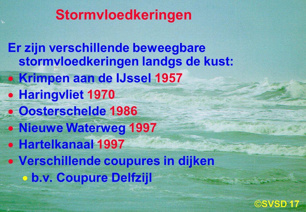 17 Stormvloedkeringen Er zijn verschillende beweegbare stormvloedkeringen landgs de kust:  Krimpen aan de IJssel 1957  Haringvliet 1970  Oosterschelde 1986  Nieuwe Waterweg 1997  Hartelkanaal 1997  Verschillende coupures in dijken  b.v.
