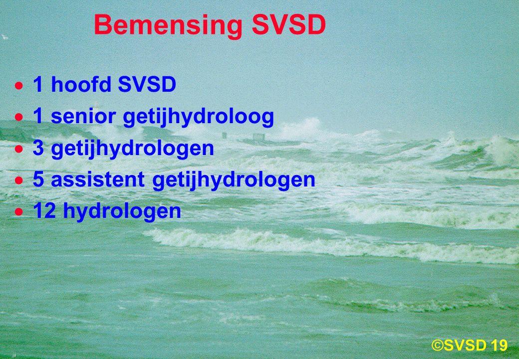 19 Bemensing SVSD  1 hoofd SVSD  1 senior getijhydroloog  3 getijhydrologen  5 assistent getijhydrologen  12 hydrologen